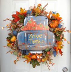Fall Farmhouse Rustic Truck Wreath Fall Wreath Thanksgiving