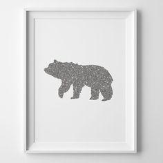 Bear Giclee Wall Art Print Faux Metallic by PemberleyHousePress