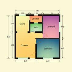 Planos de 2 Dormitorios – Constructora Sol del Plata Bungalows, Bar Chart, Floor Plans, Ideas, Home Made Simple, Sun, Manufactured Housing, Courtyards, Yurts
