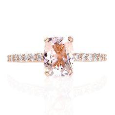 Rose Gold Cushion Morganite Ring