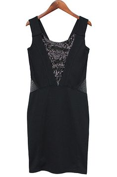 Black Sleeveless Sequined Bandeau Backless Dress - Sheinside.com