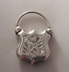 Victorian Silver Puffy Padlock Charm with Etched Roses...