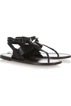 Rag & Bone Sigrid Textured leather Sandals in Black | Lyst