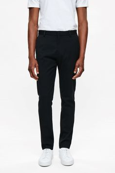 COS image 2 of Slim-fit cotton trousers in Black