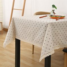 WFLJL Tablecloth Rural Coffee Table Linen Dining Table Small Fresh Bedside Cabinets Rectangle Cover Cloth White 140X140cm