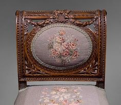 ~ Beautifully Carved Side Chair With Gorgeous Needlepoint Upholstery ~
