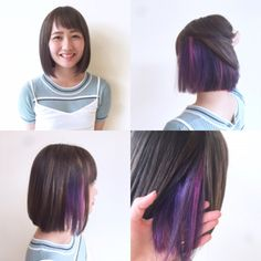 in 2020 (With images) Color Block Hair, Bob Hair Color, Haircut And Color, Purple Hair, Ombre Hair, Above Shoulder Hair, Undercolor Hair, Peekaboo Hair Colors, Hidden Hair Color