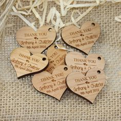 Amaze your wedding guests with our unique engraved heart wooden gift tags. A personalised touch cant be beaten, and there is no better way than with engraving the bride and grooms names, thankyou messages or even guest names. Each tag is professionally laser cut and engraved from 4mm thick cherry timber and finished in a beautiful satin lacquer. Each tag is supplied with a raffia gift tie. #Thank you #GiftwareDirect #bamboo
