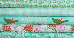 6 fat quarter Bundle Up Parasol by Heather Bailey..Turquoise colorway by PomegranatePlace on Etsy https://www.etsy.com/listing/193615417/6-fat-quarter-bundle-up-parasol-by