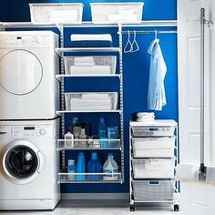31 Cool Small Laundry Room Design Ideas, A laundry room doesn't need to be a boring location. It need not be boring and basic. Sometimes, it could serve as a storage room as well, where you c. Organisation Hacks, Laundry Room Organization, Laundry Room Storage, Laundry Room Design, Storage Room, Organizing Tips, Storage Shelves, Small Shelves, Wire Shelves