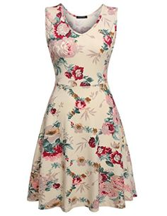 OURS Womens Sleeveless Flower Printed Cocktail Flare Dresses XL Beige -- Visit the image link more details.
