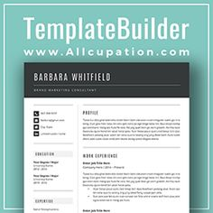 Modern Resume Template Cover Letter  Page Template