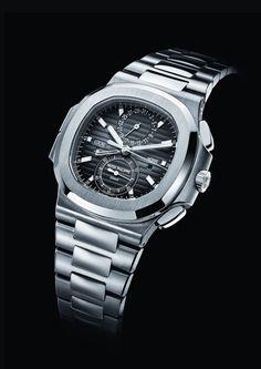 Patek Philippe Nautilus Travel Time Chronograph 5990/1A Watch In Steel | juwelier-haeger.de