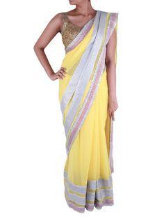Bright Yellow Georgette saree with Silver Sequin work - Sweta Sutariya