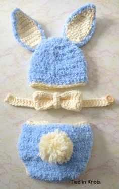 Baby Bunny Crochet Hat and Diaper Cover by TiedinKnotsCrochet
