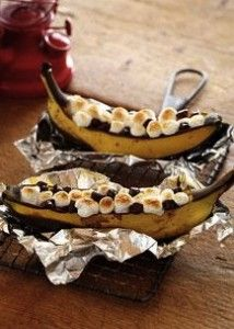 Campfire Banana Boats from the Pioneer Woman  http://www.foodnetwork.com/recipes/ree-drummond/campfire-banana-boats-recipe/index.html