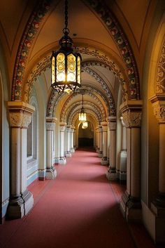 Corridor inside Schloss Neuschwanstein in Bavaria, Germany