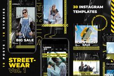 Streetwear Vol. 1 Instagram Pack by nénjo. on @creativemarket #socialmedia #template #handpicked Best Instagram Stories, Instagram Posts, Hypebeast, Streetwear, Professional Powerpoint Templates, Media Web, Fashion Graphic Design, Instagram Post Template, S Stories