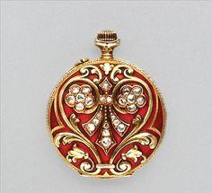 Antique Gold, Enamel and Diamond Pendant-Watch   14 kt., rose-cut diamonds, signed Borel Neuchatel,