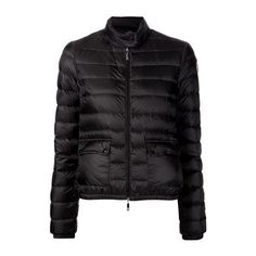 MONCLER Lans Padded Jacket ($499) ❤ liked on Polyvore featuring outerwear, jackets, black, black padded jacket, black long sleeve jacket, zip front jacket, black fitted jacket and black straight jacket