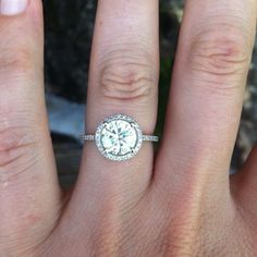 Petite Halo Amora Moissanite Engagement Ring