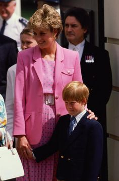 Princess Diana and her son Prince Harry at Clarence House to celebrate the Queen Mother's 92nd birthday, August 4, 1992.