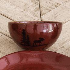 Moose and Bear Lodge Stoneware Moose Bowl