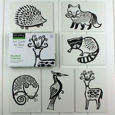 Black And White Baby Flash Cards Woodland Animals