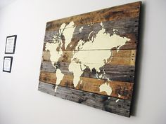DIY Pallet Board World Map, can do it with any given outline such as Snoopy, a tree, etc.