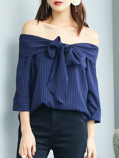 Shop Blouses - Navy Blue Polyester Off Shoulder Simple Bow Blouse online. Discover unique designers fashion at StyleWe.com.