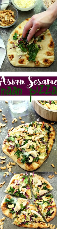 This easy Asian Sesame Naan Pizza is so simple to throw together, but has an amazing flavor that can't be denied! Wrap Recipes, Pizza Recipes, Easy Dinner Recipes, Asian Recipes, Easy Meals, Cooking Recipes, Simple Recipes, Delicious Recipes, Dinner Ideas