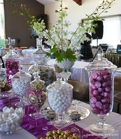 candy bar for wedding reception purple candy bar silver sequins table linen wedding reception wedding food pinterest purple candy bar