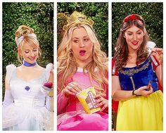 Bernadette, Penny, and Amy dressed up as Disney princesses :D  Cinderella, Aurora aka Sleeping Beauty and Snow White