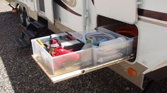 Organising the caravan bin. Easy and cheap D.I.Y. project. Plastiv containers better than solid drawer cause it's cheaper and you can change the plastic container configuration. And the whole drawer is lighter.