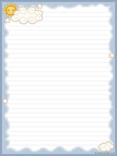 sun and clouds free Stationary Printable Free, Printable Lined Paper, Paper Clouds, Recipe Paper, Page Borders Design, Stationery Paper, Day Planners, Writing Paper, Note Paper
