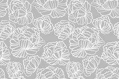Sketched Peonies, Smoke fabric by kateriley on Spoonflower - custom fabric