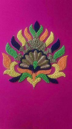 Knot work for Order pls whatsapp 7659830951 Zardozi Embroidery, Hand Embroidery Dress, Tambour Embroidery, Embroidery Works, Embroidery Motifs, Hand Embroidery Designs, Gold Embroidery, Fancy Blouse Designs, Neckline Designs