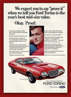 Ford Gran Torino Sport car vintage magazine ad by catchingcanaries