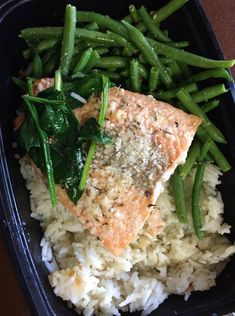 Parmesan and Thyme Crusted Salmon over Basmati Rice and Green Beans  -- Evensen Personal Menus