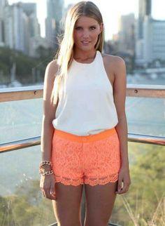 Orange Floral Lace Shorts,  Bottoms, neon orange paisley button front, Chic