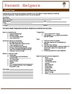 Girl Scout Brownie Parent Volunteer Form