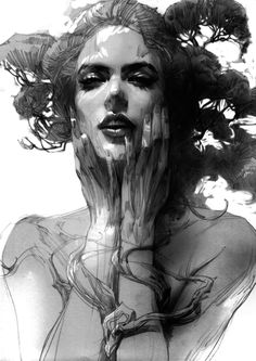 line 2 by zhang weber, via Behance Drawing inspiration of a woman blended with a  tree.