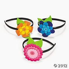 Flower Headband Craft Kit x 12 - : Multicultural Toys 4 u Headband Crafts, Felt Headband, Flower Headbands, Baby Headbands, Braided Headbands, Flower Hair, Ribbon Flower Tutorial, Hair Bow Tutorial, Felt Flowers