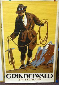 vintage swiss travel poster Grindelwald Mountaineer