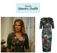 """April 2014 @ pm Gail O'Grady as Stevie Grayson in Revenge – """"Blood"""" (Ep. Stevie's Dress: Ted Baker """"Iyana"""" Print Dress sold out. More Revenge fashion here. Gail O'grady, Revenge Fashion, Fashion Tv, Office Dresses, Sheath Dress, Actors & Actresses, Ted Baker, Favorite Tv Shows, Blood"""