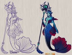 Nami The Tidecaller from League of Legends, Nami Betta Fish Skin Concept By Jennifer Duong.  Mermaid, Sea Maiden, Guardian