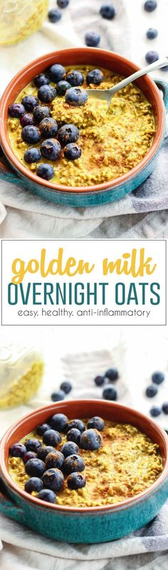 Easy Golden Milk Overnight Oats. A super healthy drink turned into a quick grab-n-go filling breakfast! This meal has healthy fats, good carbs, fiber and protein. Plus anti-inflammatory affects from the turmeric! GF-friendly!