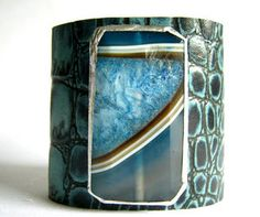 Leather Cuff - Teal Alligator Embossed Cuff with Blue Striped Agate