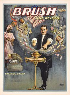 Original Vintage 1920s MAGIC Poster BRUSH THE MYSTIC
