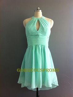 Short Mint Bridesmaid Dress Halter Kneelength by GorgeousProms, $69.99
